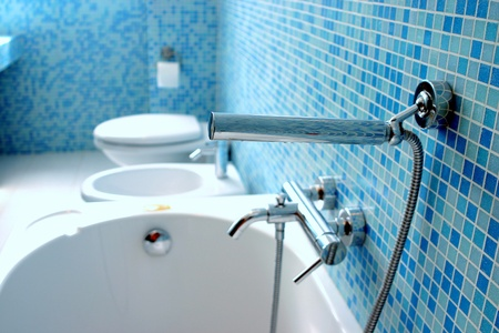 lavabo: Blue bathroom closeup Stock Photo