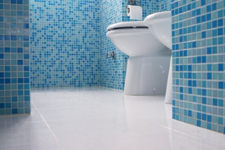 bathroom tile: Blue bathroom closeup Stock Photo