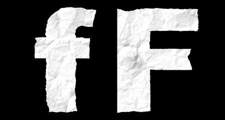 crumple: Alphabet on crumple white paper - F letter