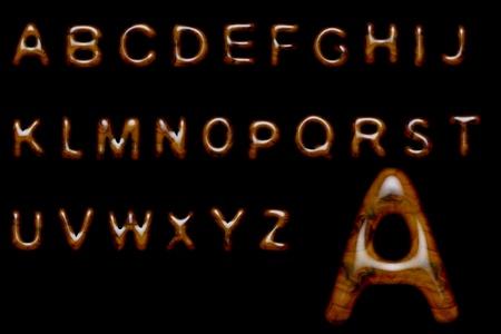 gelatine: Complete alphabet made of shiny wood texture