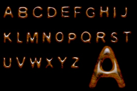 Complete alphabet made of shiny wood texture