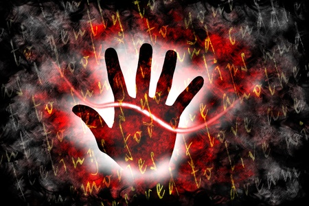 palmistry: The love line crosses the palm and marks our life as a couple Stock Photo