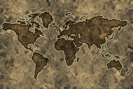 World map on an ancient grunge parchment sheet background photo