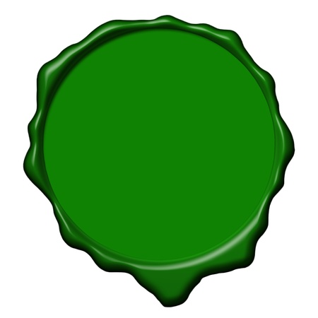 Empty green wax seal used to sign and close the royal letters
