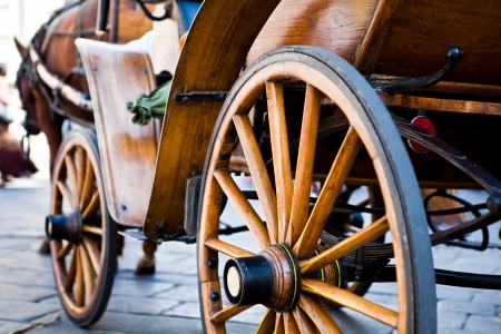 old wooden carriage with horse