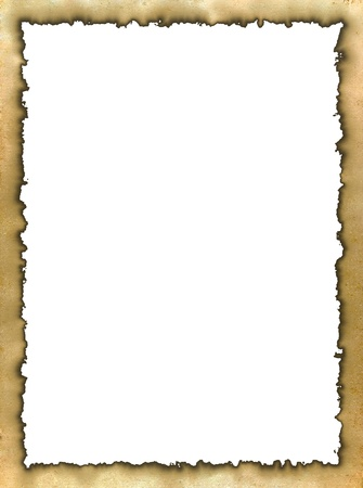 Frame made of an old yellow burned edges parchment Standard-Bild