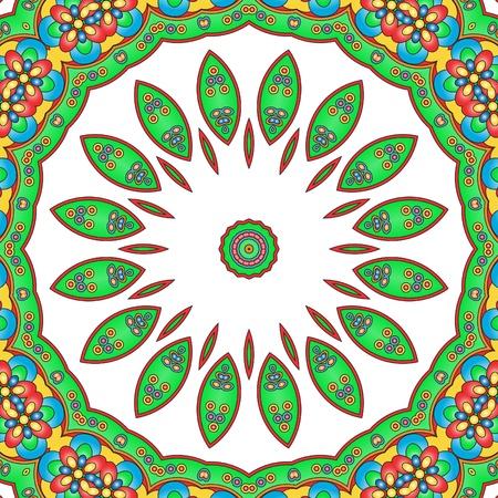 devotion: Illustration of a full colored mandala ancient religious symbol