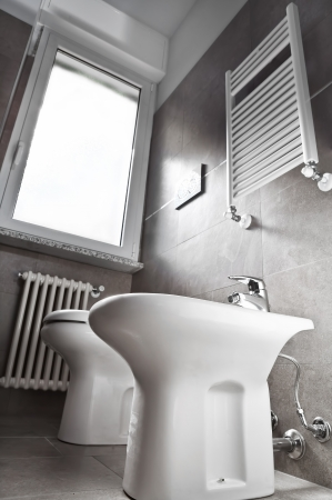 White modern toilette and bidet on gray wall  photo