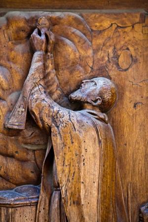 wood carving door: Old wooden religious handmade artefact