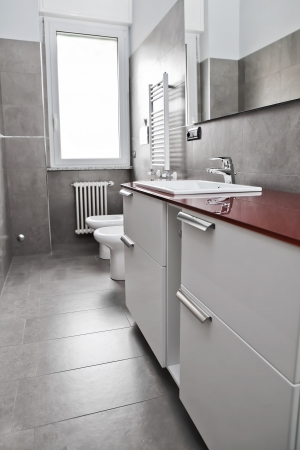 Red bathroom with toilette, bidet, heater, lavabo and mirror  photo