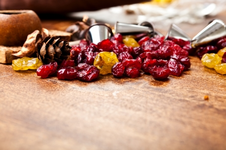 metal tips: Candied and metal tips on an old wood table