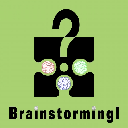 Conceptual brainstorming symbol composed by a puzzle piece and three human brains  They struggle to find the solution of their problems  The dots on I litters are two brains photo