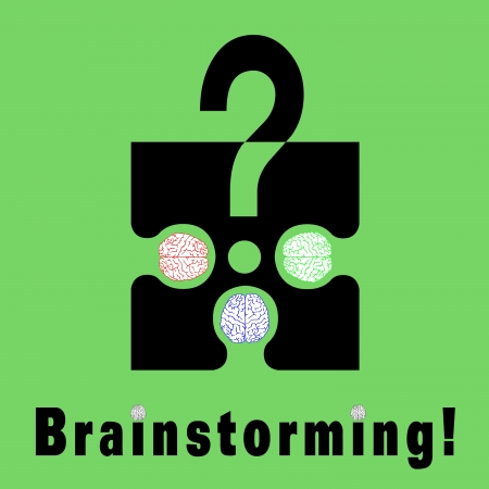 struggle: Conceptual brainstorming symbol composed by a puzzle piece and three human brains  They struggle to find the solution of their problems  The dots on I litters are two brains Stock Photo