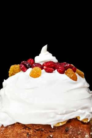 Christmas cake profile with cream and red berries on black background Stock Photo - 16921672