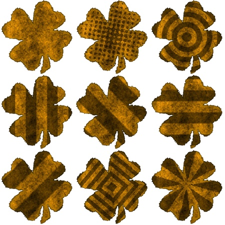 four leaved: Burned parchment shamrock collection Stock Photo