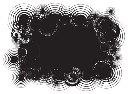 woodstock: Black abstract swirl background frame Stock Photo