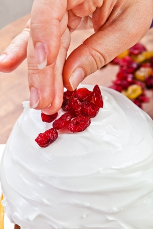 Christmas creamy cake decorated by hands Stock Photo - 16945262