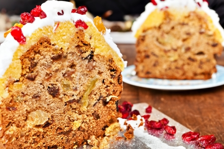 Christmas cake slices with cream and red berries Stock Photo - 17113204