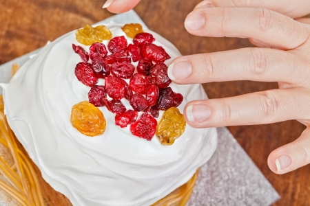 Christmas creamy cake decorated by hands Stock Photo - 17510914