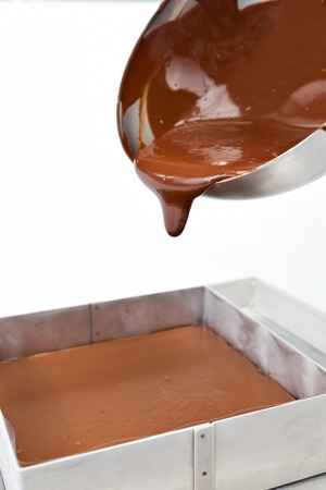 Chocolate in melt and drips down a metal bowl