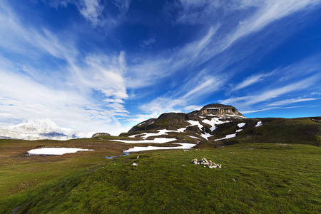 Alpine landscape with green grass and blu sky