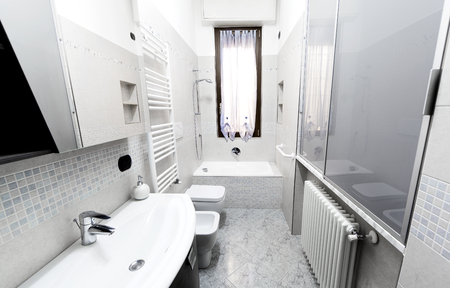 Classic bathroom with mosaic little tiles
