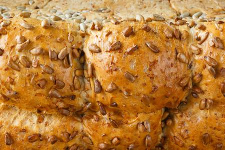 Closeup fresh bread with sunflower seeds