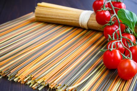 Italian spaghetti with mini tomatoes and basil