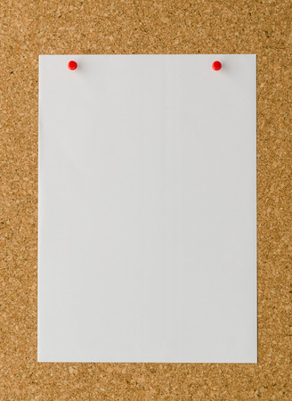 cork wood: empty white sheet paper on cork wood board background
