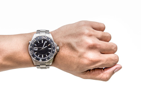 A man hand with Watch on wrist isolated over a white background
