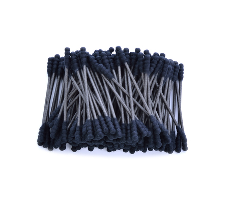cotton wool: Cotton sticks,cotton wool,black-color on white background.