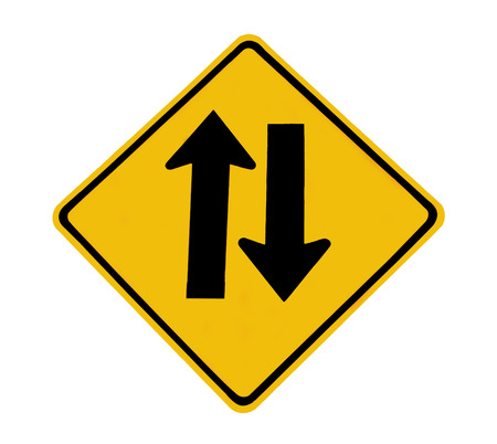 two way traffic: Two way traffic sign on white background