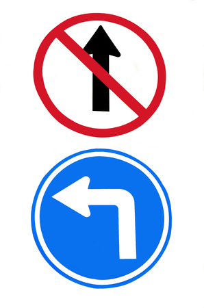 Arrow traffic sign isolated on white background