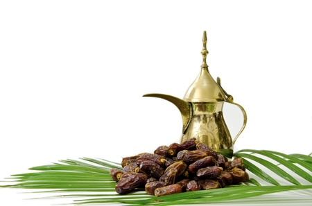 Arabic Coffee with Dates Fruit isolated on white Background Stock Photo - 9317866