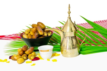 arabic coffee with date fruit photo