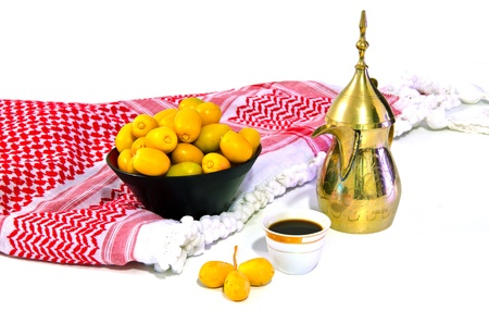 arabic coffee with fresh date fruit photo