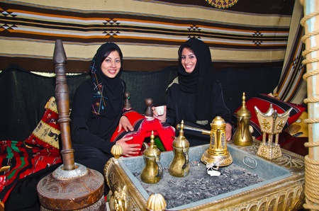 bedouin: Arab Women sitting in a traditional tent