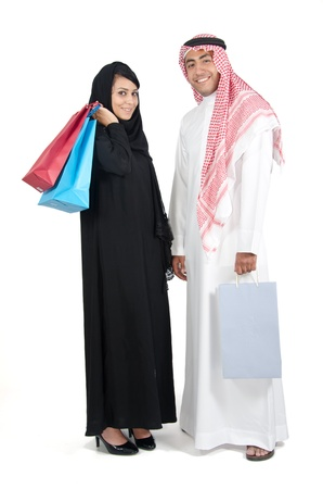 Arab couple shopping photo