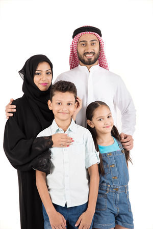 indexing: Arab family on white background