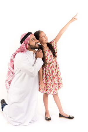 indexing: Arab father with his daughter indexing Stock Photo
