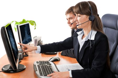 Customer service representatives working at the office over a white background photo