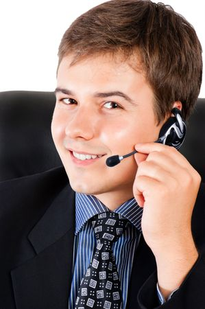 Smiling male customer service representative with headset