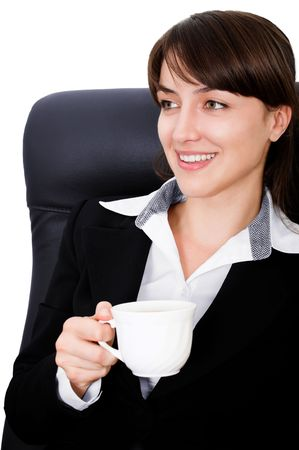 Portrait of a businesswoman drinking coffee with white background photo