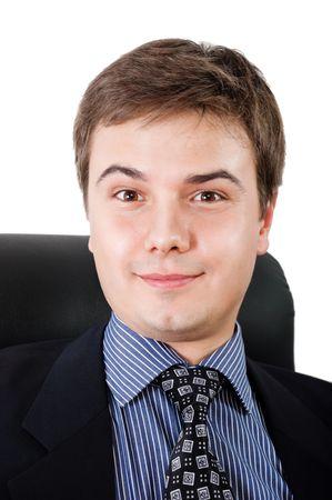 Portrait of surprised businessman against white background photo