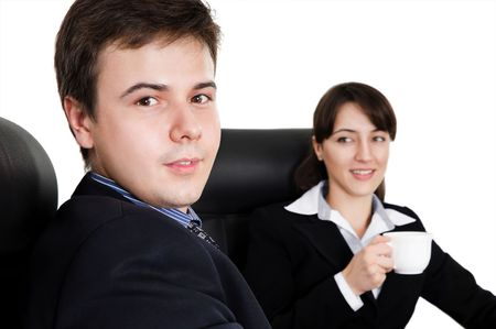 Business team at a coffee break against white background