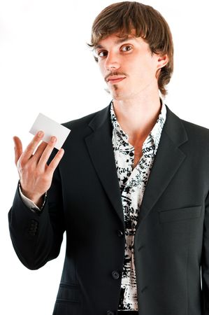Handsome businessman proud of his corporate business card against white background
