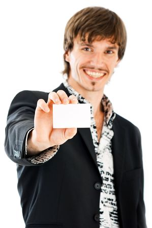 Handsome business man with blank business card against white background