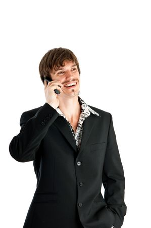 Portrait of successful young businessman using phone against white background with copy space