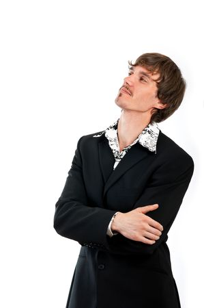Portrait of proud businessman is isolated against white background