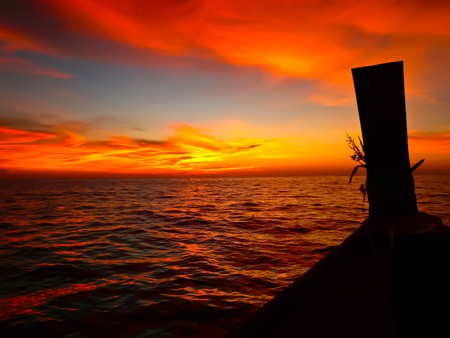sunset on boat over Andaman sea Stock Photo - 7978196